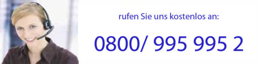 kostenloser Anruf (aus Festnetz)  zu uns: